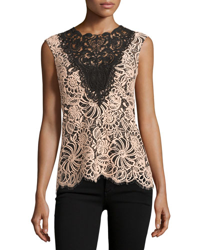 Sleeveless Colorblock Lace Top, Desert Rose