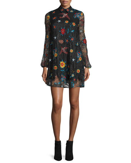 Alice + Olivia Maria Embroidered Lace Dress