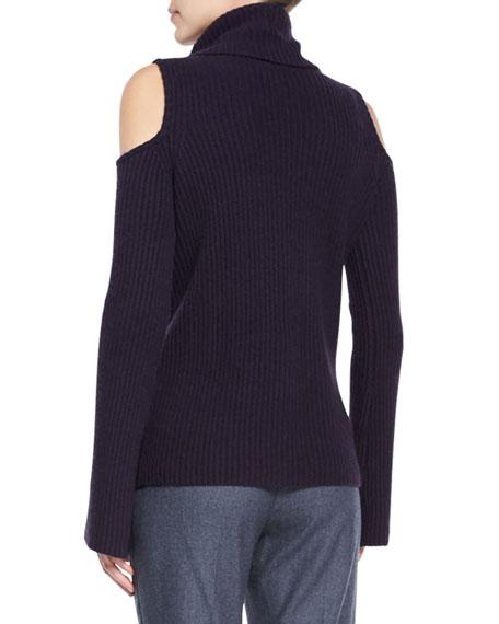 Torrence Cashmere Cowl-Neck Cold-Shoulder Ribbed Sweater