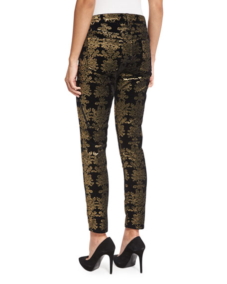 Image 3 of 5: The Skinny Ankle Brocade Velvet Jeans