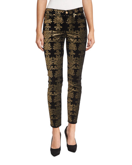 Image 1 of 5: The Skinny Ankle Brocade Velvet Jeans