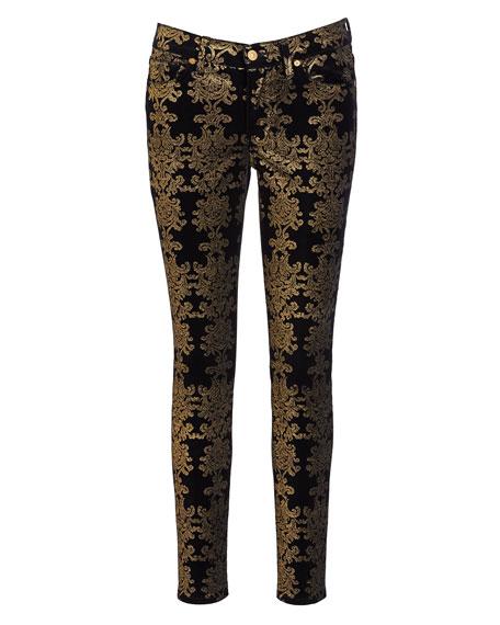 7 For All Mankind The Skinny Ankle Brocade Velvet Jeans
