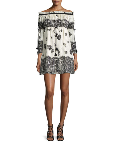 Rachel Zoe Danica Off-the-Shoulder Lace-Print Babydoll Dress,