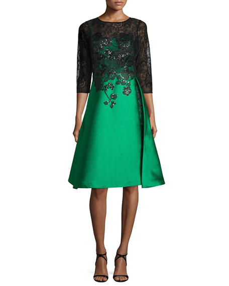 3/4-Sleeve Lace & Gazar Cocktail Dress, Emerald