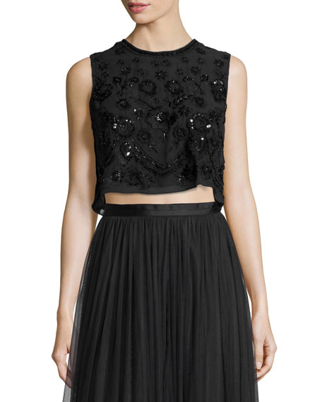 Embellished Floral-Embroidery Crop Top, Black/Black