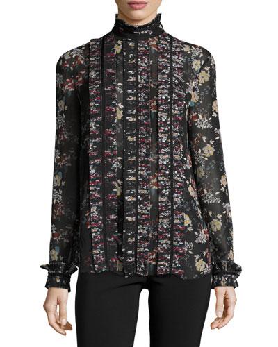 Floral-Print Chiffon High-Neck Blouse