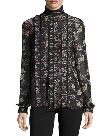 Floral-Print Chiffon High-Neck Blouse