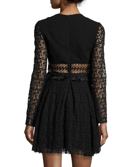 Embroidered-Mesh Mini Dress, Black