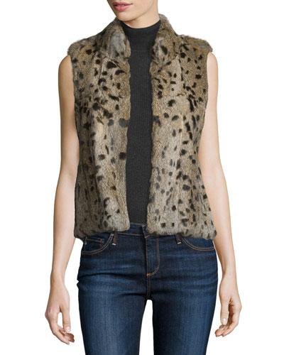 Merwyn Leopard-Print Rabbit Fur Vest