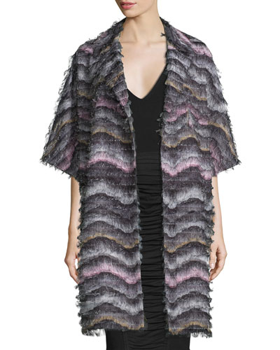 Floretta Wavy-Pattern Fringed Car Coat Best Price