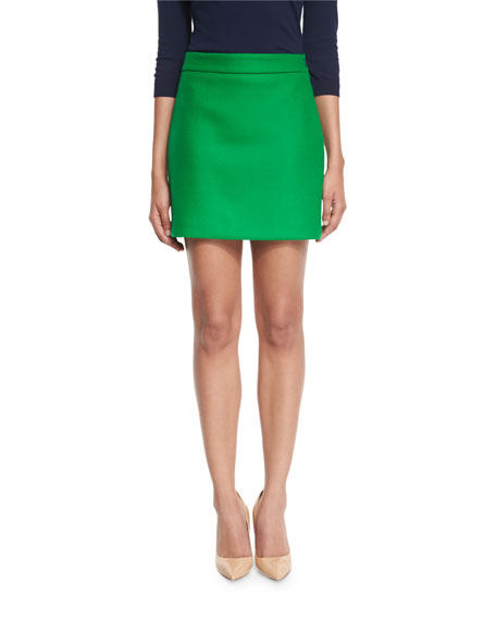 Milly Double-Face Stretch-Wool Mini Skirt