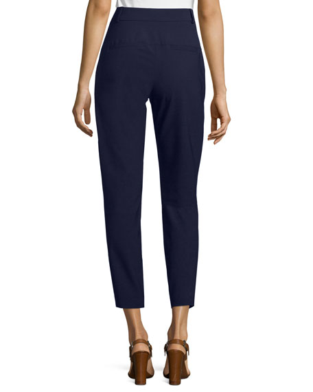 Slim Cropped Cigarette Pants, Navy