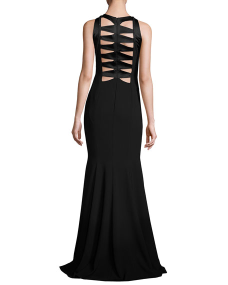 Sleeveless Cutout Crepe Mermaid Gown, Black