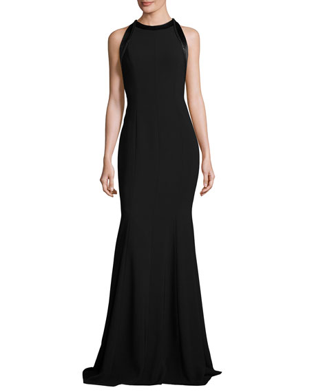 Carmen Marc Valvo Sleeveless Cutout Crepe Mermaid Gown,