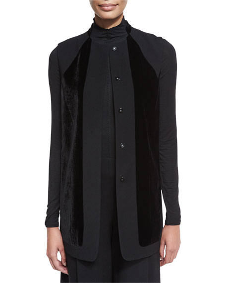 Liz Long Vest w/ Angled Velvet Panels, Black