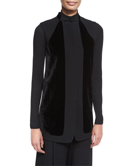 Elie Tahari Liz Long Vest w/ Angled Velvet