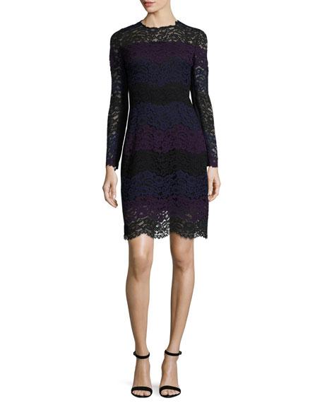 Elie Tahari Ophelia Striped Lace A-Line Dress, Jasmine