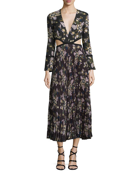 A.L.C. Josefa Floral Pleated Midi Dress, Black/Multicolor