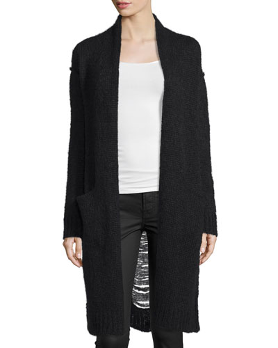 The Long Slash Pocket Cardigan, Black