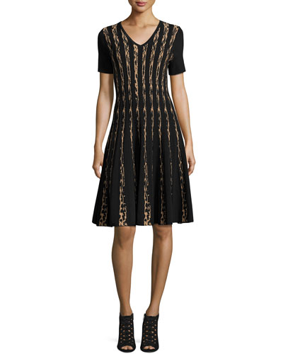 Short-Sleeve Leopard Birdseye Jacquard A-Line Dress, Black/Zoe Beige