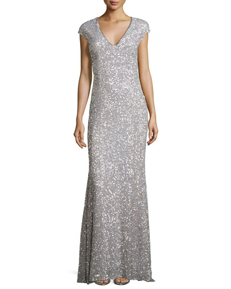 Rachel Gilbert Fleur Beaded Cap-Sleeve V-Neck Gown, Silver