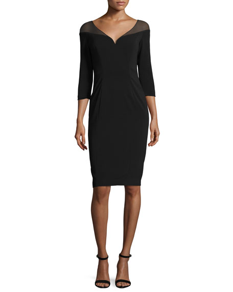 Badgley Mischka 3/4-Sleeve Stretch Jersey Cocktail Dress, Black
