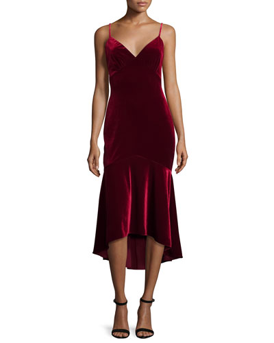 Sleeveless Velour Midi Dress, Garnet