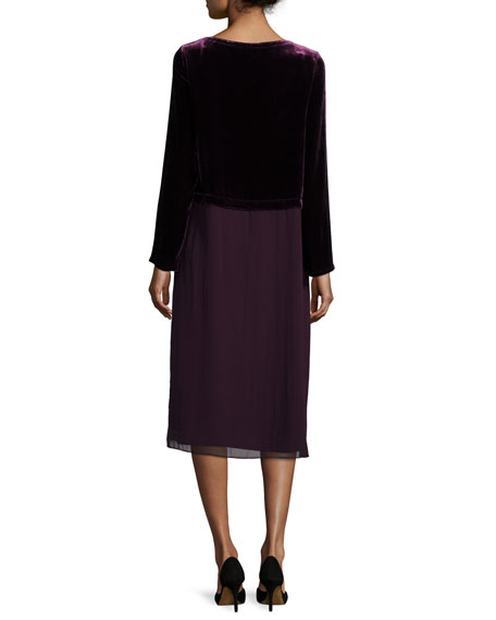 Washable Velvet Long-Sleeve Duster Dress