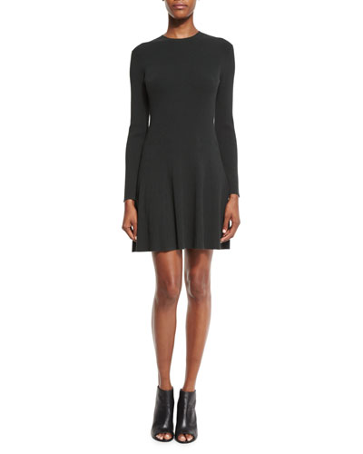 Miriam Long-Sleeve Fit-and-Flare Jersey Dress, Black