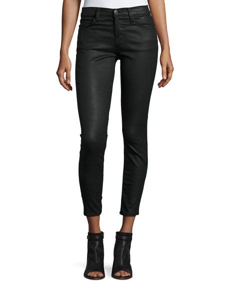 Current/Elliott The Stiletto Coated Cropped Jeans, Black