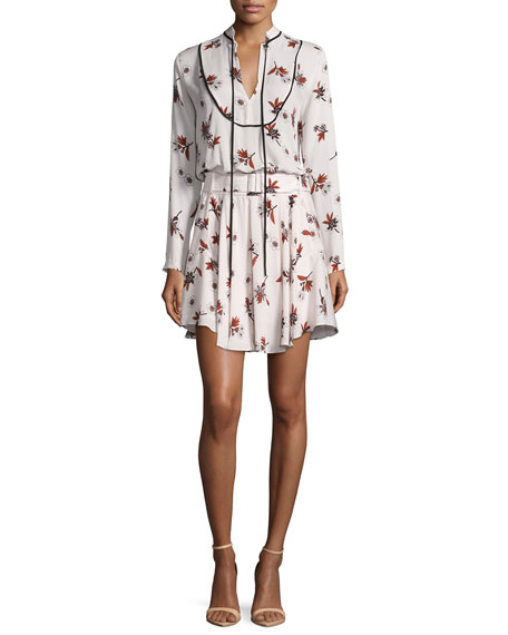 Campbell Long-Sleeve Floral Silk Dress, Light Pink/Multicolor