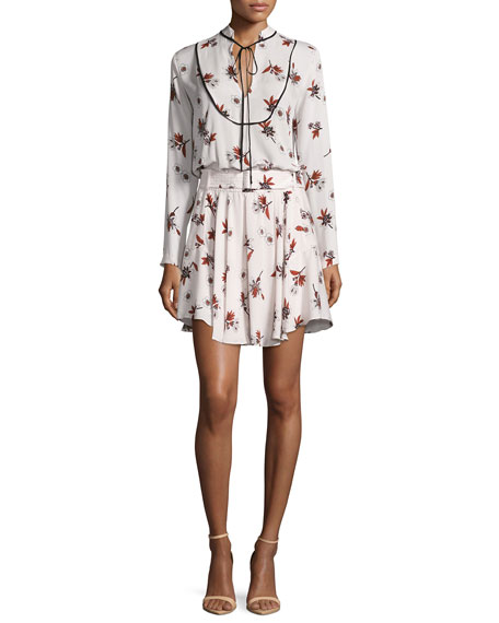 A.L.C. Campbell Long-Sleeve Floral Silk Dress, Light