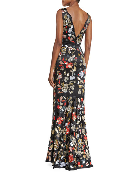 Sleeveless Floral Embroidered Satin Gown, Black/Multicolor