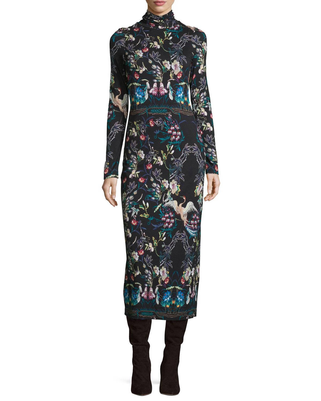 8d0f29d63f62 Alice + Olivia Delora Printed Turtleneck Midi Dress