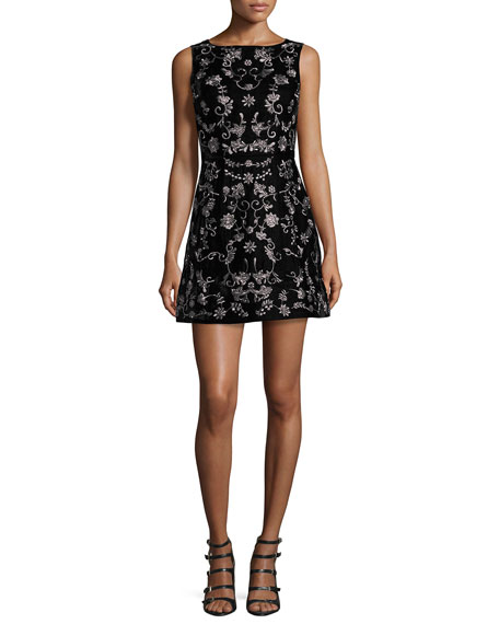 Alice + Olivia Lindsey Embroidered Mini Dress, Black