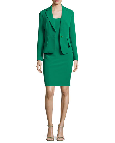 Structured Stretch Crepe Sheath Dress w/ Jacket, New Emerald