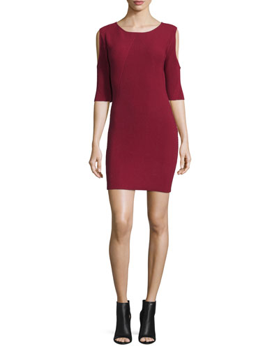 Josefina Cold-Shoulder Ribbed Dress, Wine