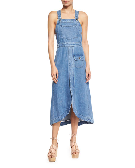 See by Chloe Denim Overall Midi Dress, Washed