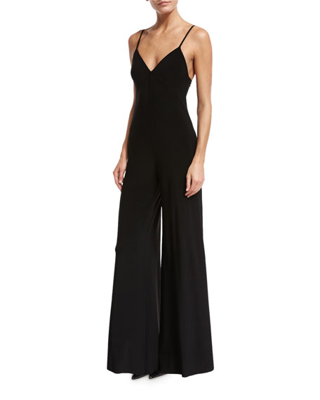 Flared Hem Stretch Jersey Jumpsuit, Black