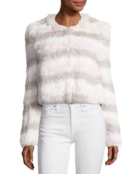 Toshi Layered Cropped Fur Jacket, Foggy MT Multi