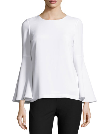Elizabeth and James Raleigh Bell-Sleeve Open-Back Top, White