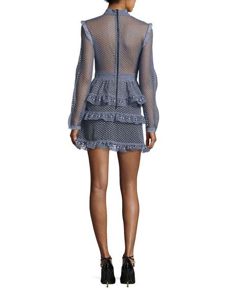 Self-Portrait Dot-Lace Tiered Mini Dress, Dove Gray