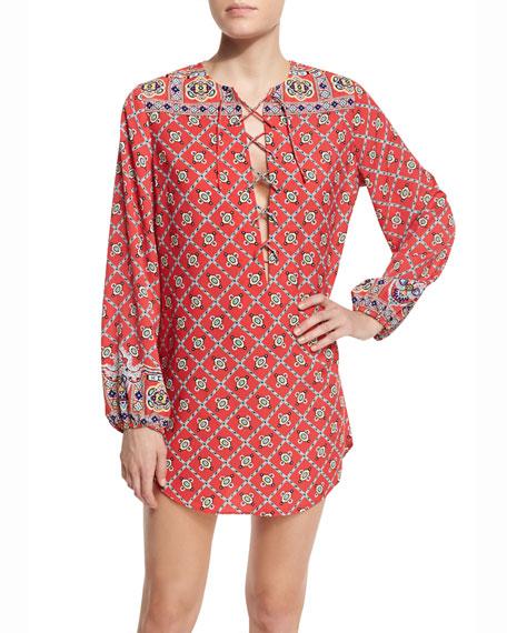 Nanette Lepore Pretty Tough Printed Lace-Up Tunic