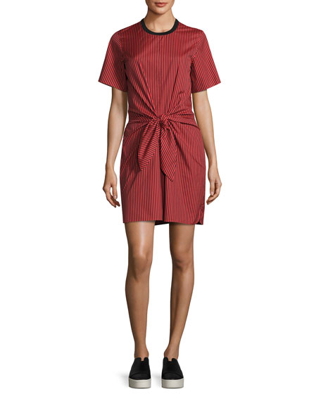 3.1 Phillip Lim Short-Sleeve Striped Knotted Crepe Dress,