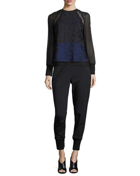Image 3 of 3: 3.1 Phillip Lim Lightweight Stretch Wool Track Pants, Black