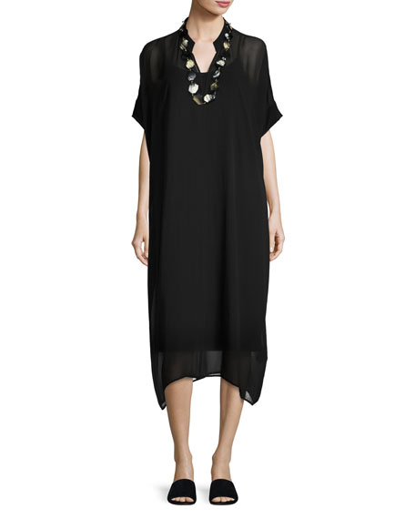 Eileen Fisher Long Boxy Sheer Silk Dress, Black