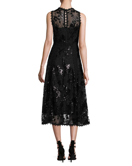 Sleeveless Embellished Floral Tulle Midi Dress, Black