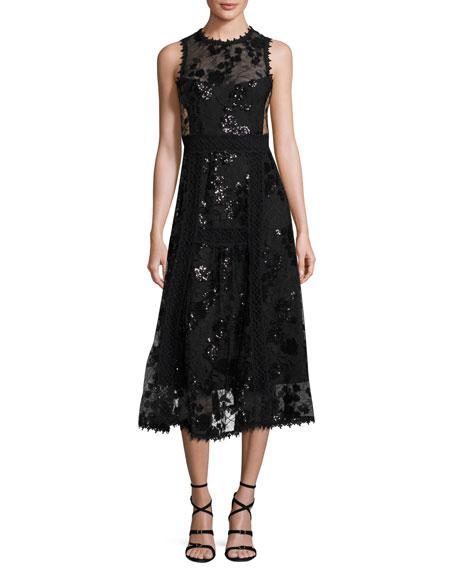 Sleeveless Embellished Floral Tulle Midi Dress, Black