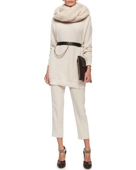 Pleated Crepe Cropped Pants
