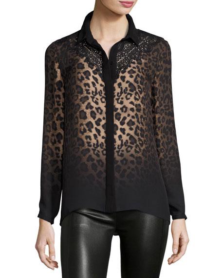 Elie Tahari Mason Long-Sleeve Ombre Leopard-Print Blouse w/